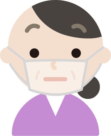 中年女性のマスク下の表情イラスト(不機嫌)