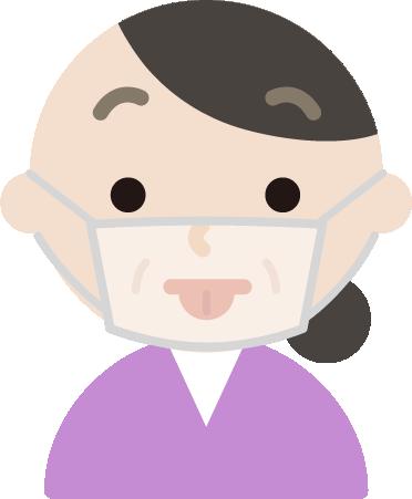 中年女性のマスク下の表情イラスト(あっかんべー)