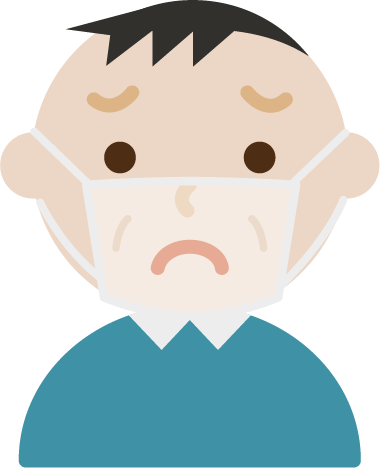 困惑する中年男性の表情イラスト(マスク下)