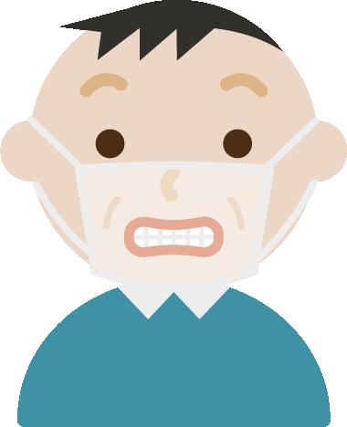 いーっとした中年男性の表情イラスト(マスク下)