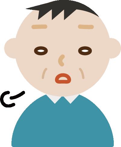 ため息をつく中年の男性のイラスト