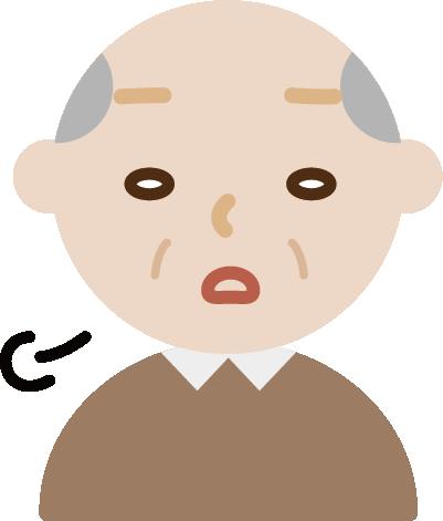 ため息をつく高齢者の男性のイラスト