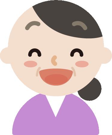いい笑顔の中年の女性のイラスト