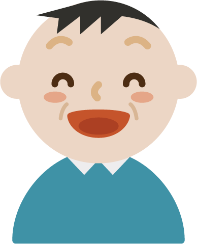 いい笑顔の中年の男性のイラスト