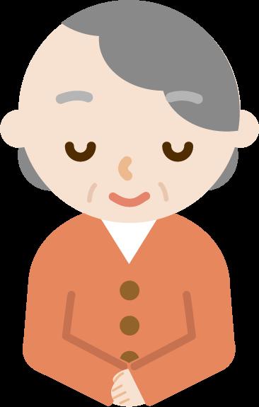 お辞儀をする高齢者の女性のバストアップのイラスト