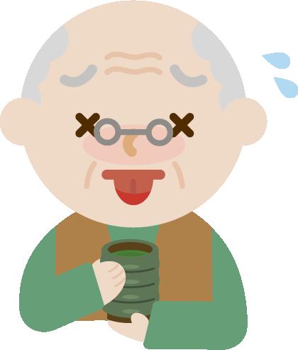 お茶で火傷する高齢者の男性のイラスト