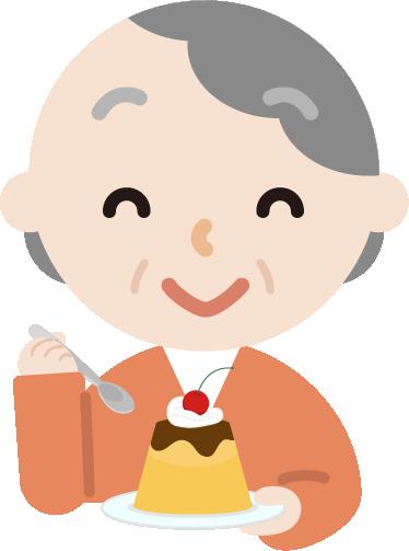 プリンを食べる高齢者の女性のイラスト
