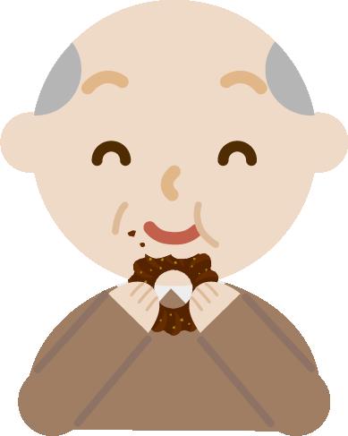 ドーナツを食べる高齢者の男性のイラスト