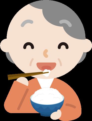 ご飯を食べる高齢者の女性のイラスト1