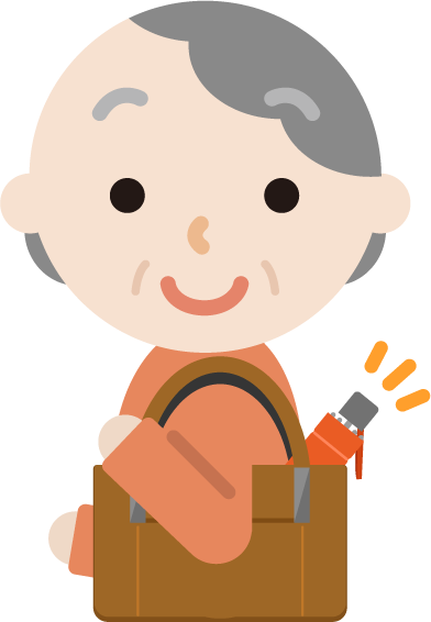 折り畳み傘を持つ高齢者の女性のイラスト