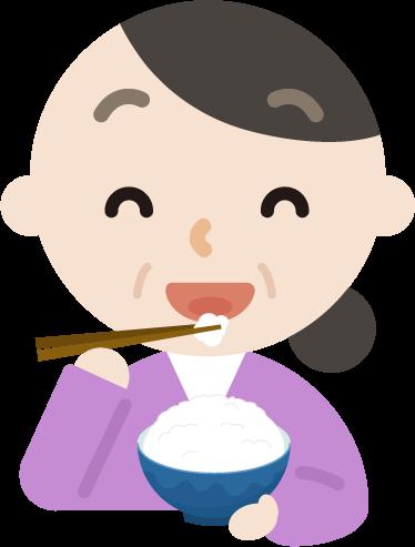 ご飯を食べる中年の女性のイラスト1