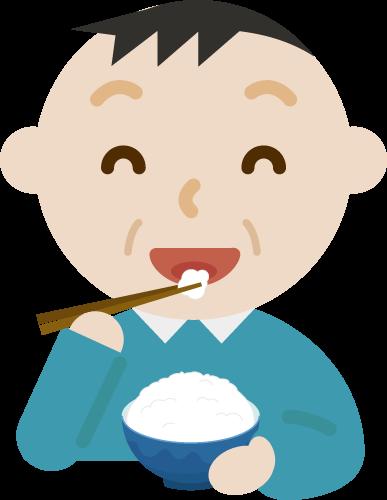 ご飯を食べる中年の男性のイラスト1