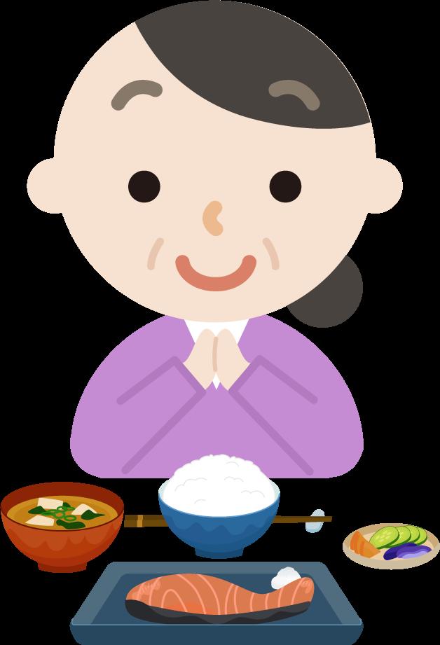 中年の女性が焼き鮭定食を食べるイラスト1