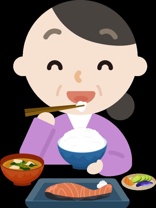 中年の女性が焼き鮭定食を食べるイラスト2