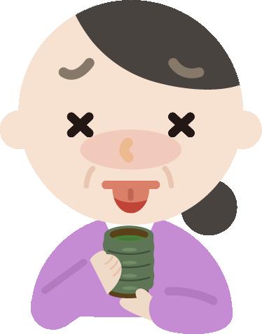 お茶で火傷する中年の女性のイラスト