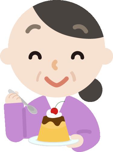プリンを食べる中年の女性のイラスト