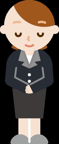 お辞儀をする社会人の女性のイラスト