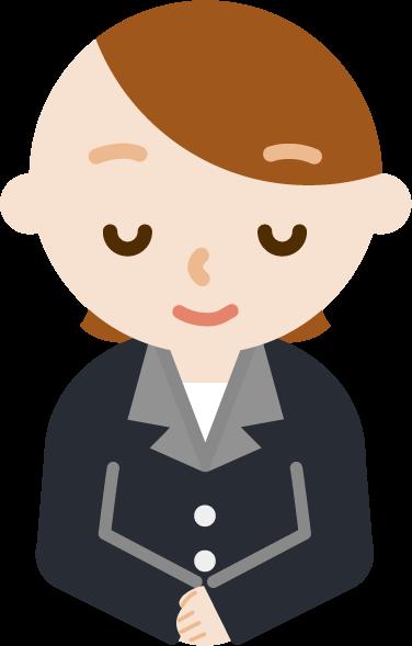 お辞儀をするバストアップの社会人の女性のイラスト