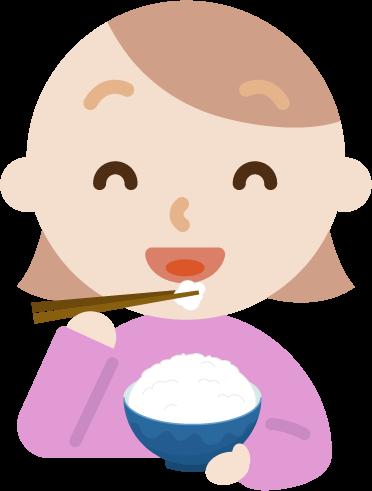 ご飯を食べる若い女性のイラスト1