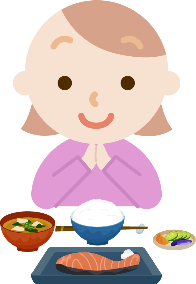 若い女性が焼き鮭定食を食べるイラスト1