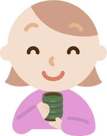 若者の女性が湯飲みでお茶を飲むイラスト