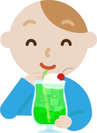 クリームソーダを飲む若い男性のイラスト