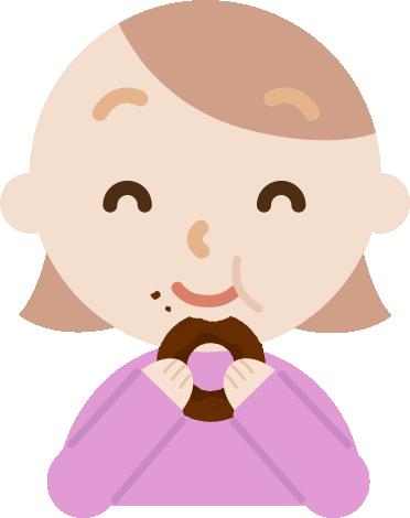 ドーナツを食べる若い女性のイラスト