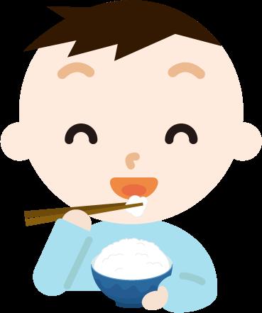 ご飯を食べる男の子のイラスト1