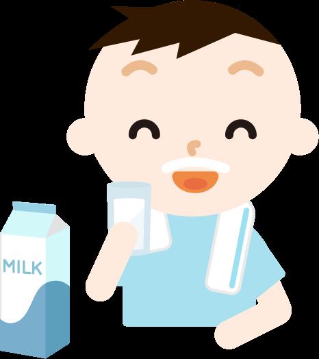 牛乳を飲む男の子のイラスト