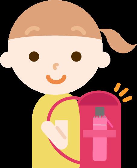 折り畳み傘を持つ女の子のイラスト