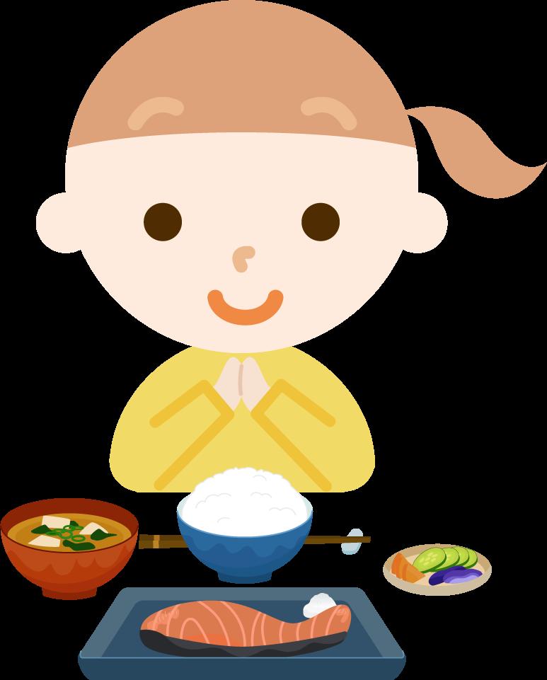 女の子が焼き鮭定食を食べるイラスト1
