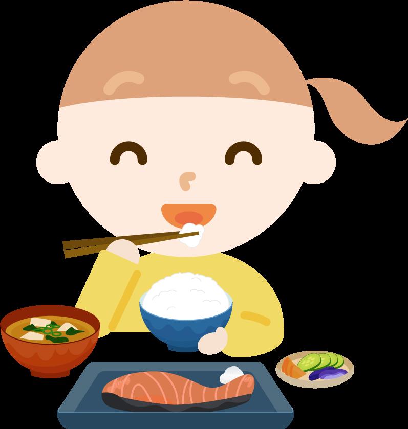 女の子が焼き鮭定食を食べるイラスト2