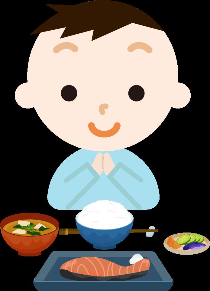 男の子が焼き鮭定食を食べるイラスト1
