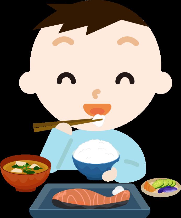 男の子が焼き鮭定食を食べるイラスト2