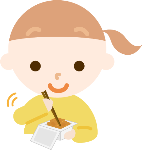 納豆を練る女の子のイラスト