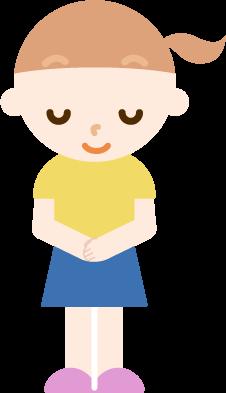 お辞儀をする女の子のイラスト