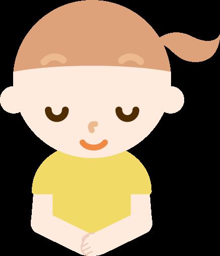 お辞儀をする女の子のバストアップのイラスト