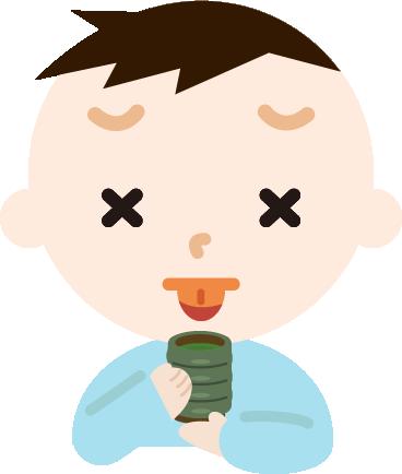 男の子がお茶で火傷するイラスト