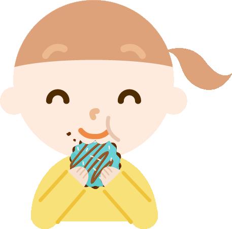ドーナツを食べる女の子のイラスト