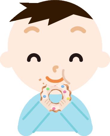 ドーナツを食べる男