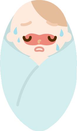 熱のある赤ちゃんのイラスト