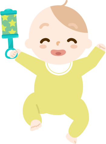 ガラガラで遊ぶ赤ちゃんのイラスト