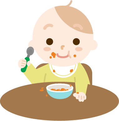 離乳食を食べる赤ちゃんのイラスト