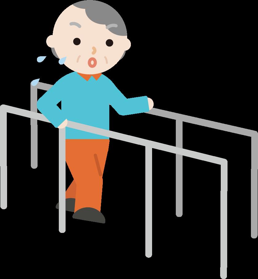 平行棒で歩行のリハビリをする高齢者の女性のイラスト
