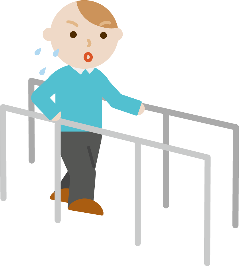 平行棒で歩行のリハビリをする若者の男性のイラスト