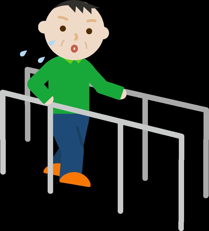 平行棒で歩行のリハビリをする中年の男性のイラスト