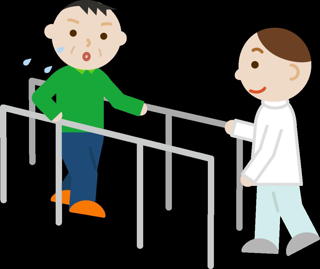 平行棒で歩行のリハビリをする中年の男性と作業療法士のイラスト