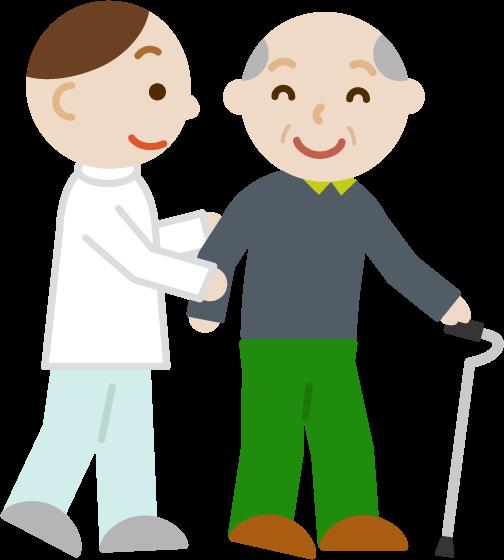 歩行訓練をする高齢者の男性のイラスト