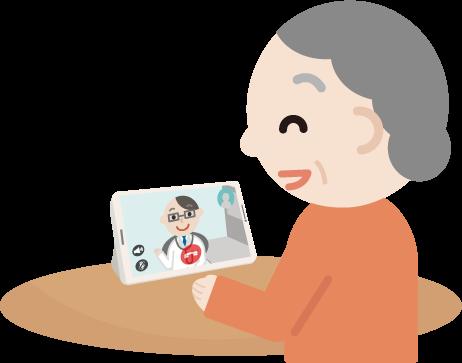 高齢者の女性が男性の医者とビデオ電話しているイラスト2