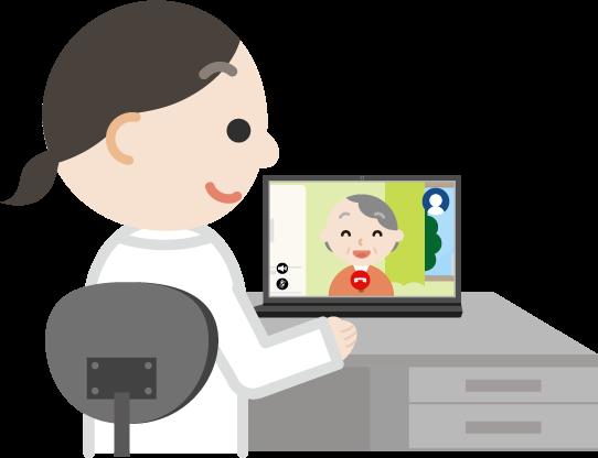高齢者の女性とビデオ電話している女性の医者のイラスト
